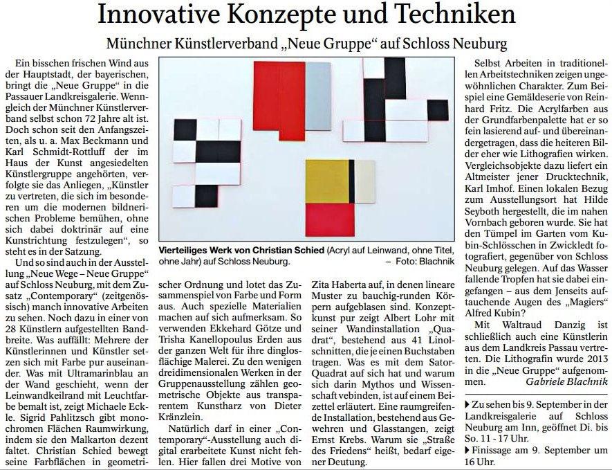Artikel von Gabriele Blachnik in der Ausgabe der PNP vom 22.8.2018